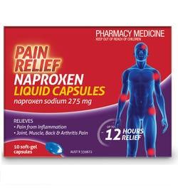 Naproxen Pain Relief Liquid Cap X 10