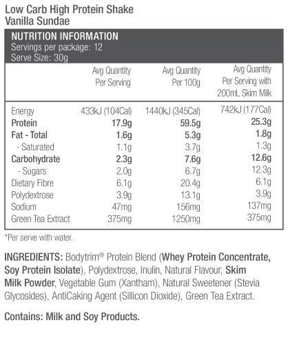 Bodytrim Low Carb Protein Shake Vanilla Sundae Nutrition Information
